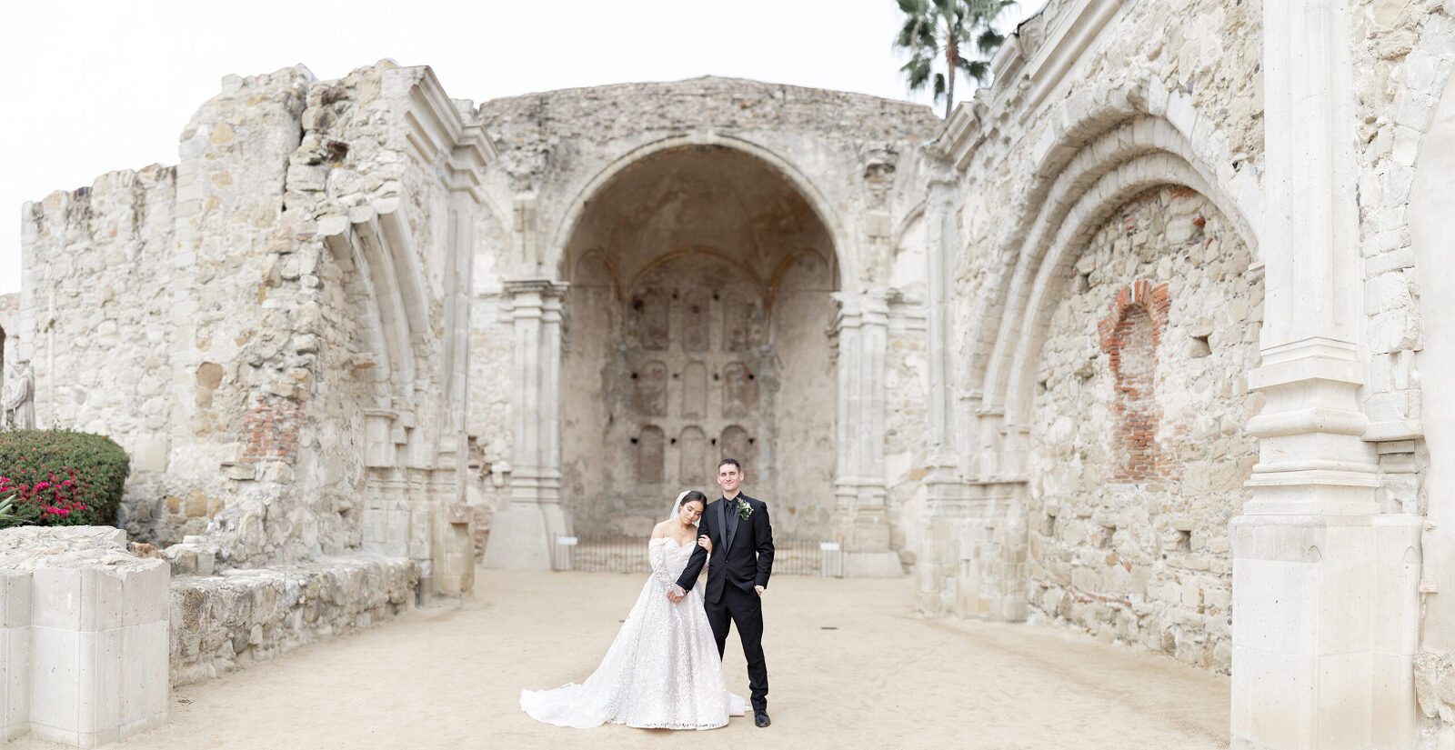 Bride and Groom in San Juan Capistrano